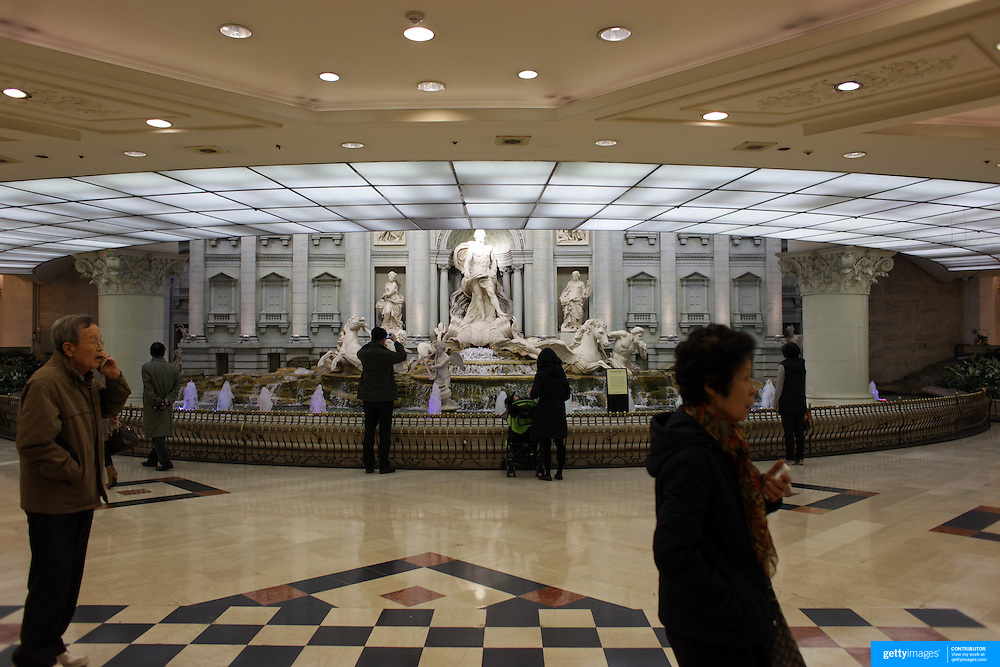 The Trevi Fountain replica in the subway at Lotte World, Seoul