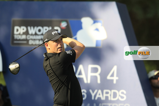 Matt Wallace (ENG) on the 16th tee during the final round of the DP World Tour Championship, Jumeirah Golf Estates, Dubai, United Arab Emirates. 18/11/2018<br /> Picture: Golffile | Fran Caffrey<br /> <br /> <br /> All photo usage must carry mandatory copyright credit (&copy; Golffile | Fran Caffrey)