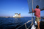 Schooner Jenny Norman under sail near the lighthouse on the Rockland Breakwater, Rockland, Maine, USA