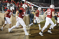Stanford, CA - November 18, 2017: Daniel Marx and teammates enter the field for the second half of the Stanford vs California football game Saturday night at Stanford Stadium.<br /> <br /> The Stanford Cardinal defeated the California Golden Bears 17 to 14.
