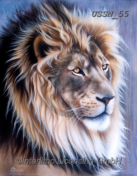 Sandi, REALISTIC ANIMALS, REALISTISCHE TIERE, ANIMALES REALISTICOS, paintings+++++,USSN55,#a#, EVERYDAY ,lion ,puzzles