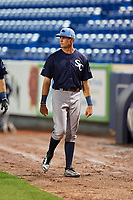 Charlotte Stone Crabs designated hitter Josh Lowe (28) before the second game of a doubleheader against the St. Lucie Mets on April 24, 2018 at First Data Field in Port St. Lucie, Florida.  St. Lucie defeated Charlotte 5-3.  (Mike Janes/Four Seam Images)