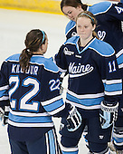 Brianne Kilgour (Maine - 22), Karissa Kirkup (Maine - 11) - The Boston College Eagles defeated the visiting University of Maine Black Bears 5 to 1 on Sunday, October 6, 2013, in their Hockey East season opener at Kelley Rink in Conte Forum in Chestnut Hill, Massachusetts.