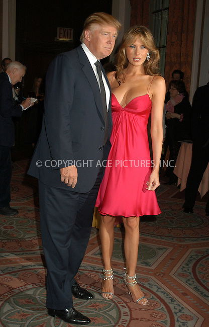 WWW.ACEPIXS.COM . . . . . ....NEW YORK, APRIL 20, 2005....Donald and Melania Trump at the Breast Cancer Research Foundation's Annual Red Hot and Pink Party held at the Waldorf Astoria.....Please byline: KRISTIN CALLAHAN - ACE PICTURES.. . . . . . ..Ace Pictures, Inc:  ..Craig Ashby (212) 243-8787..e-mail: picturedesk@acepixs.com..web: http://www.acepixs.com