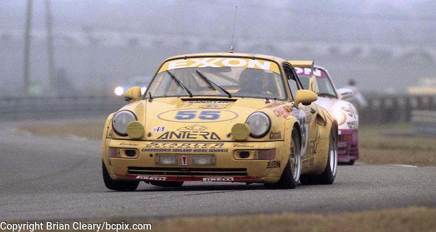 The #55 Porsche 911 Carerra RSR of Enzo Calderari, Ferdinand de Lesseps, Lilian Bryner, and Ulli Richter races to a 4th place finish in the 24 Hours of Daytona, IMSA race, Daytona International Speedway, Daytona Beach , FL, February 4, 1996.  (Photo by Brian Cleary/www.bcpix.com)
