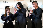 """(L-R) Singer Kyary Pamyu Pamyu, actor Keanu Reeves and director Chad Stahelski pose of the ninja during a stage greeting for the movie """"John Wick: Chapter 3 - Parabellum"""" in Tokyo, Japan, September 10, 2019. The movie will be released in Japan on October 4. JIJI PRESS PHOTO / MORIO TAGA"""