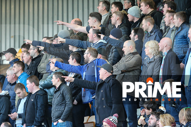 Chants of 'you're not fit to wear the shirt' ring out from the Grimsby Town supporters during the Sky Bet League 2 match between Cambridge United and Grimsby Town at the R Costings Abbey Stadium, Cambridge, England on 17 February 2018. Photo by David Horn.