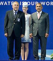 Podium<br /> From L to R<br /> MARCULESCU Cornel FINA<br /> Rustan Minnikhonov Rustan Minnikhanov President of Republic of Tatarstan<br /> Team Free Final<br /> Day8 10/07/2015<br /> XVI FINA World Championships Aquatics<br /> Synchro<br /> Kazan Tatarstan RUS July 24 - Aug. 9 2015 <br /> Photo Pasquale Mesiano/Deepbluemedia/Insidefoto