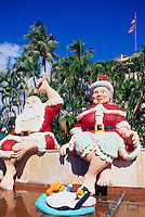 Honolulu, Oahu, Hawaii, HI, USA - Shaka Santa Claus and Mrs Claus, Christmas Figures and Decorations at Honolulu Hale (City Hall)