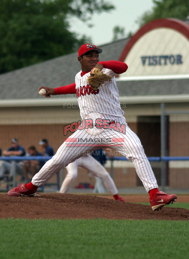 July 17, 2003:  Pitcher Jean Machi of the Batavia Muckdogs, Class-A affiliate of the Philadelphia Phillies, during a NY-Penn League game at Dwyer Stadium in Batavia, NY.  Photo by:  Mike Janes/Four Seam Images