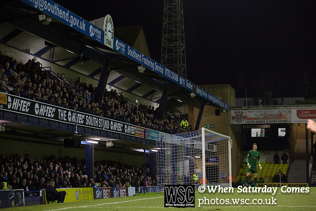 Southend United 1 Burton Albion 1, 22/02/2016. Roots Hall, League One. Visiting goalkeeper Jon McLoughlin in front of the south stand during the first-half as Southend United took on Burton Albion in a League 1 fixture at Roots Hall. Founded in 1906, Southend United moved into their current ground in 1955, the construction of which was funded by the club's supporters. Southend won this match by 3-1, watched by a crowd of 6503. Photo by Colin McPherson.