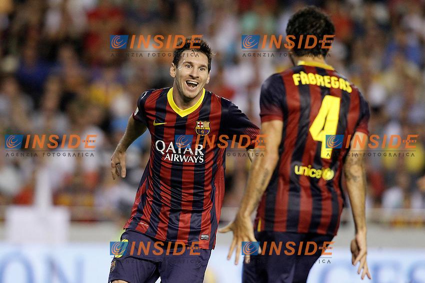 FC Barcelona's Leo Messi (l) and Cesc Fabregas celebrate goal during La Liga match.September 1,2013. (ALTERPHOTOS/Acero) <br /> Football Calcio 2013/2014<br /> La Liga Spagna<br /> Foto Alterphotos / Insidefoto <br /> ITALY ONLY