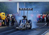 May 16, 2014; Commerce, GA, USA; NHRA top fuel dragster driver Shawn Langdon during qualifying for the Southern Nationals at Atlanta Dragway. Mandatory Credit: Mark J. Rebilas-USA TODAY Sports