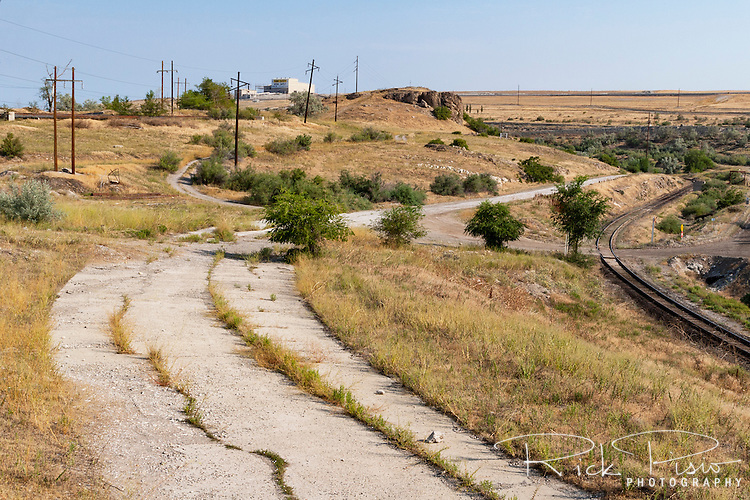 An abandoned section of the Lincoln Highway sits on Kennecott Corp. property west of Magna, Utah and is no longer accessible to the public.