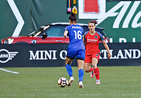 Portland, OR - Saturday May 06, 2017: Carson Pickett, Hayley Raso during a regular season National Women's Soccer League (NWSL) match between the Portland Thorns FC and the Chicago Red Stars at Providence Park.