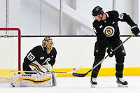 September 15, 2017: Boston Bruins goalie Tuukka Rask (40) stops a shot by center David Backes (42) during the Boston Bruins training camp held at Warrior Ice Arena in Brighton, Massachusetts. Eric Canha/CSM