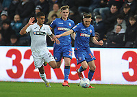 Bolton Wanderers' Craig Noone under pressure from Swansea City's Kyle Naughton<br /> <br /> Photographer Kevin Barnes/CameraSport<br /> <br /> The EFL Sky Bet Championship - Swansea City v Bolton Wanderers - Saturday 2nd March 2019 - Liberty Stadium - Swansea<br /> <br /> World Copyright © 2019 CameraSport. All rights reserved. 43 Linden Ave. Countesthorpe. Leicester. England. LE8 5PG - Tel: +44 (0) 116 277 4147 - admin@camerasport.com - www.camerasport.com
