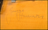 BNPS.co.uk (01202 558833)<br /> Pic: Juliens/BNPS<br /> <br /> Signed by all four Beatles.<br /> <br /> George Harrison's first electric guitar has emerged for sale for &pound;220,000.<br /> <br /> The legendary Beatle acquired his beloved Hofner Club 40 model in the summer of 1959 as a callow 16 year old after trading it for another guitar.<br /> <br /> He kept hold of the guitar for seven years as the band went from playing youth clubs to stadiums.<br /> <br /> Harrison was very fond of the instrument, describing it as 'the most fantastic guitar ever', but was persuaded by manager Brian Epstein to give it away to promote their 1966 Germany tour.<br /> <br /> His guitar was offered as the star prize for the winners of 'The Best Beat Band in Germany' organised by German music venue Star Club where the band had played in the early 60's.