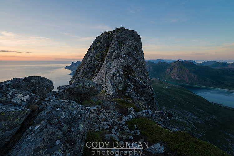 Steep rocky summit of Moltind (696 meters), Flakstadøy, Lofoten Islands, Norway