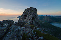 Steep rocky summit of Moltind (696 meters), Flakstadøy, Lofoten Islands, Norway
