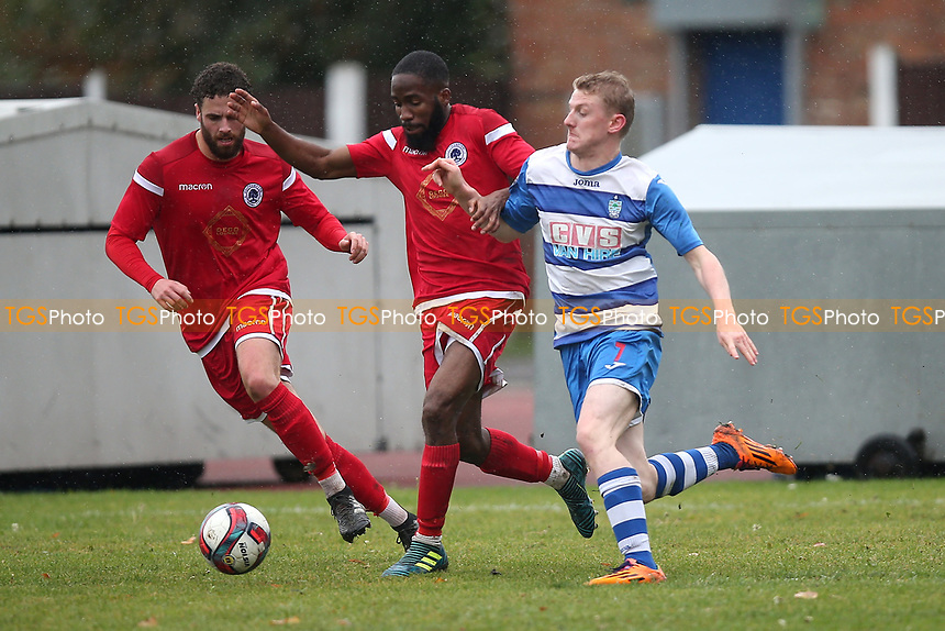 Ellis Lentell of Ilford and Ritco Josephs of Walthamstow during Ilford vs Walthamstow, Essex Senior League Football at Cricklefields Stadium on 6th October 2018
