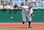 April 28, 2012:   Nevada Wolf Pack third baseman Austin Byler makes the play against the Fresno State Bulldogs during their NCAA baseball game played at Peccole Park on Saturday afternoon in Reno, Nevada.