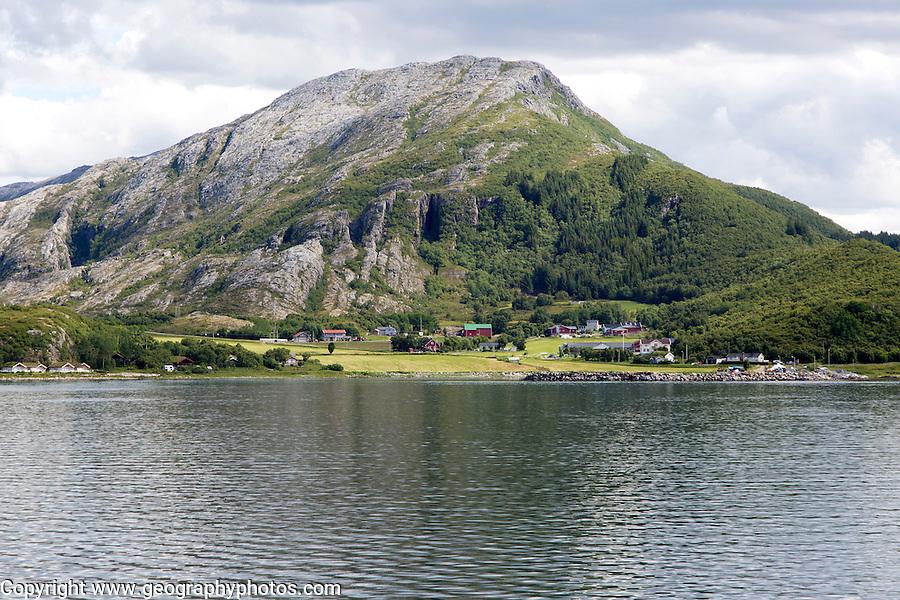 Rocky coastal rural farming landscape near Sandnessjoen, Nordland, Norway