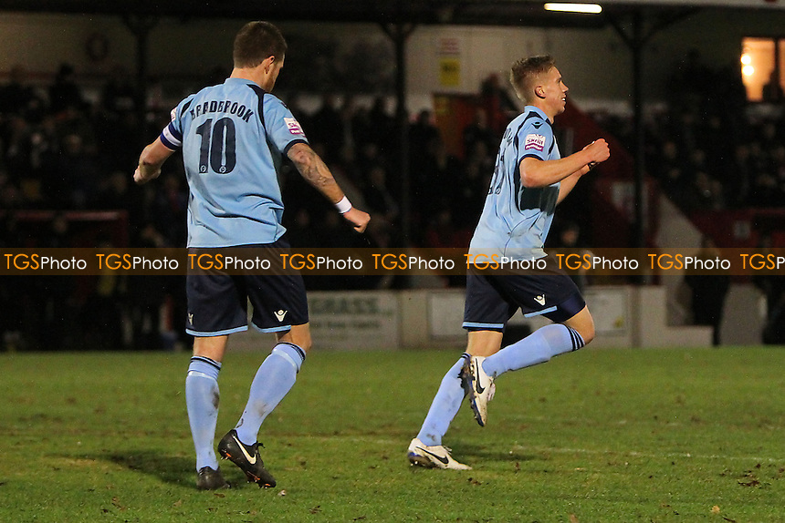 James Stevenson of Dartford celebrates scoring the first goal - Welling United vs Dartford - Skrill Conference Premier Division Football at Park View Road, Welling - 10/01/14 - MANDATORY CREDIT: Gavin Ellis/TGSPHOTO - Self billing applies where appropriate - 0845 094 6026 - contact@tgsphoto.co.uk - NO UNPAID USE