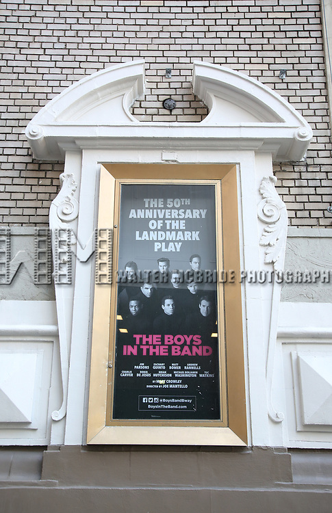 "Theatre Marquee unveiling for ""The Boys In The Band"" starring Charlie Carver, Jim Parsons, Zachary Quinto, Matt Bomer, Andrew Rannells, Robin De Jesús, Brian Hutchison, Michael Benjamin Washington, and Tuc Watkins under the direction of Joe Mantello on February 27, 2018 at the Booth Theatre in New York City."