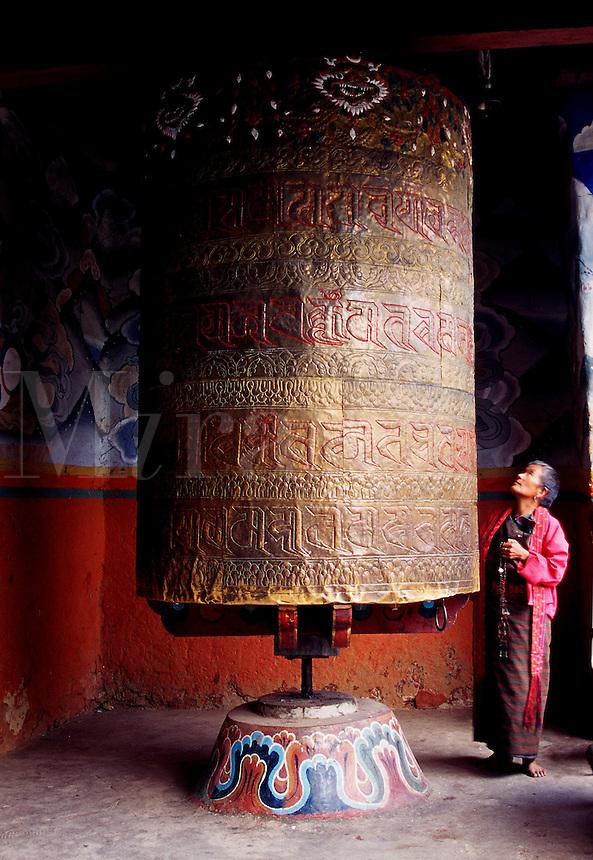 Prayer wheel at Wangduephodrang Dzong Buddhist monastery and fortress in Bhutan.