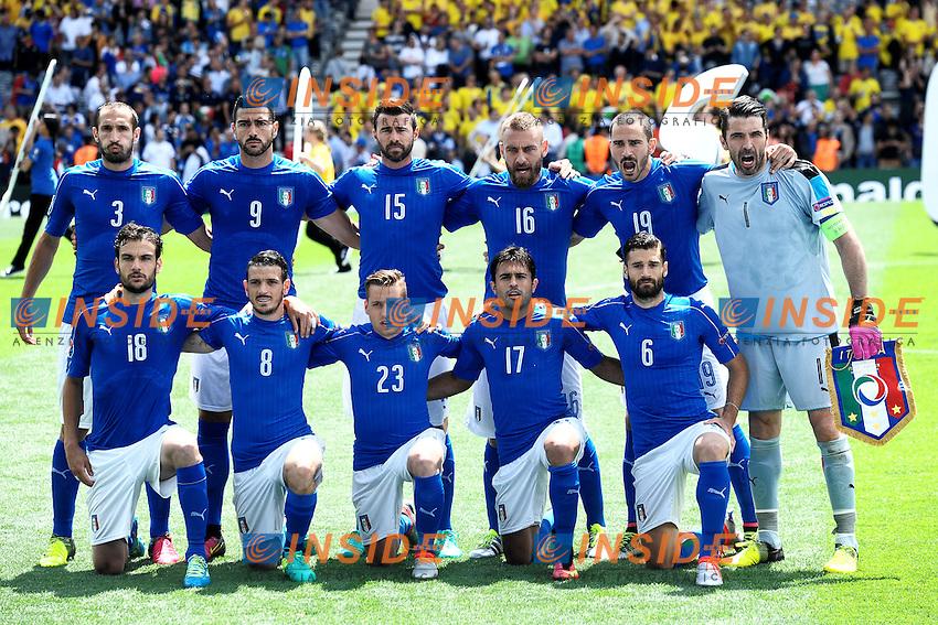 Formazione Italia Italy Team line up <br /> Toulouse 17-06-2016 Stade de Toulouse <br /> Football Euro2016 Italy - Sweden / Italia - Svezia Group Stage Group E<br /> Foto Massimo Insabato / Insidefoto