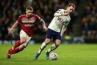 14th January 2020; Tottenham Hotspur Stadium, London, England; English FA Cup Football, Tottenham Hotspur versus Middlesbrough; Christian Eriksen of Tottenham Hotspur is under pressure from Adam Clayton of Middlesbrough - Strictly Editorial Use Only. No use with unauthorized audio, video, data, fixture lists, club/league logos or 'live' services. Online in-match use limited to 120 images, no video emulation. No use in betting, games or single club/league/player publications