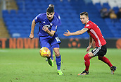 31st October 2017, Cardiff City Stadium, Cardiff, Wales; EFL Championship football, Cardiff City versus Ipswich Town; Callum Paterson of Cardiff City uses his pace to beat Bersant Celina of Ipswich Town