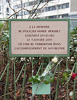 January 7 2018, PARIS FRANCE<br /> Commemorative Ceremony of the 7 january<br /> 2015 terrorist attacks against Charlie Hebdo newspaper in Paris. A Memorial Plaque is put Honour of policeman Ahmed Merabet victim of terrorism. # CEREMONIES D'HOMMAGE AUX VICTIMES DES ATTENTATS DE CHARLIE HEBDO ET DE L'HYPER CACHER