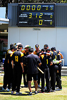 The Wellington team huddles during the Under-19 World Cup warm-up cricket match between Wellington XI and Zimbabwe Under-19s at the Scots College in Wellington, New Zealand on Sunday, 31 December 2017. Photo: Dave Lintott / lintottphoto.co.nz