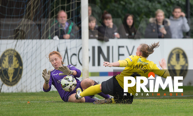 Goalkeeper Sophie Harris of London Bees saves from Kim Farrow of Watford Ladies during the final FAWSL2 match of the 2015 season between Watford Ladies and London Bees at Berkhamsted FC, Berkhamstead, England on 18 October 2015. Photo by Andy Rowland.