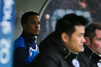 Rochdale's Joe Thompson makes his return to football action after few months out with cancer on the bench during the Sky Bet League 1 match between Rochdale and Walsall at Spotland Stadium, Rochdale, England on 23 December 2017. Photo by Juel Miah / PRiME Media Images.