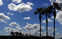 Nov. 15, 2008; Homestead, FL, USA; NASCAR Sprint Cup Series crew members watch practice for the Ford 400 from on top of their haulers at Homestead Miami Speedway. Mandatory Credit: Mark J. Rebilas-