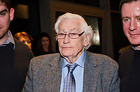 Seamus Mallon, retired leader, SDLP, political party, N Ireland, UK, at Belfast launch of Maurice Fitzpatrick&rsquo;s book, John Hume in America: From Derry to DC, at the Titanic Building, 25th January 2018, 201801254783<br /><br />Copyright Image from Victor Patterson, 54 Dorchester Park, <br />Belfast, UK, BT9 6RJ<br /><br />t1: +44 28 9066 1296 (from Rep of Ireland 048 9066 1296)<br />t2: +44 28 9002 2446 (from Rep of Ireland 048 9002 2446)<br />m: +44 7802 353836<br /><br />victorpatterson@me.com<br />www.victorpatterson.com<br /><br />Please see my Terms and Conditions of Use at VICTORPATTERSON.COM. It is IMPORTANT that you familiarise yourself with them.<br /><br />Images used on the Internet must be visibly watermarked i.e. &copy;VICTORPATTERSON.COM within the body of the image and copyright metadata must not be deleted. Images used on the Internet have a size restriction of 4kbs and are chargeable at the then current NUJ rates.<br /><br />This image is only available for the use of the download recipient i.e. television station, newspaper, magazine, book publisher, etc, and must not be passed on to any third party. It is also downloaded on condition that each and every usage is notified within 7 days to victorpatterson@me.com<br /><br />The right of Victor Patterson to be identified as the author is asserted in accordance with The Copyright Designs And Patents Act (1988).