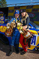 Apr 23, 2017; Baytown, TX, USA; NHRA funny car driver Ron Capps (left) and top fuel driver Leah Pritchett celebrate after winning the Springnationals at Royal Purple Raceway. Mandatory Credit: Mark J. Rebilas-USA TODAY Sports