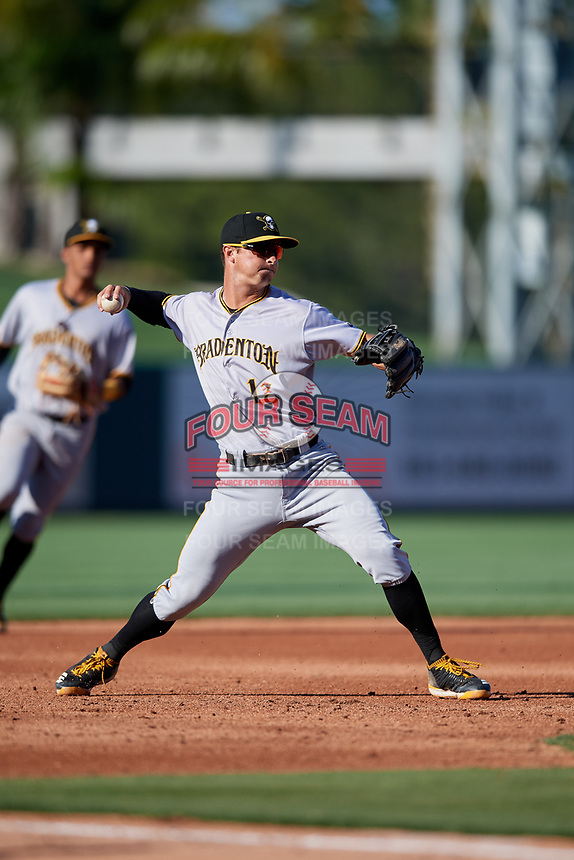 Bradenton Marauders third baseman Hunter Owen (13) throws to first base during the first game of a doubleheader against the Lakeland Flying Tigers on April 11, 2018 at Publix Field at Joker Marchant Stadium in Lakeland, Florida.  Lakeland defeated Bradenton 5-4.  (Mike Janes/Four Seam Images)