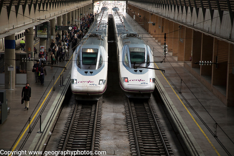 Trains at platform inside Santa Justa railway station, Seville, Spain