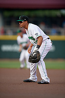 Dayton Dragons first baseman Avain Rachal (20) during a game against the Cedar Rapids Kernels on May 10, 2017 at Fifth Third Field in Dayton, Ohio.  Cedar Rapids defeated Dayton 6-5 in ten innings.  (Mike Janes/Four Seam Images)