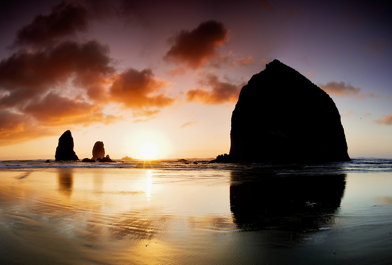Sunset with some fog at Cannon Beach. Oregon