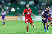 4th November 2017, nib Stadium, Perth, Australia; A-League football, Perth Glory versus Adelaide United; Perth Glory Adam Taggart and Adelaide United Jordan Elsey watch as the ball gets free