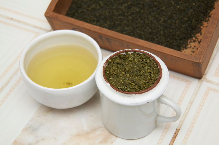Organic specialty green tea prepared for sampling in Chimate, a small community in the fertile Yungas region of Bolivia.