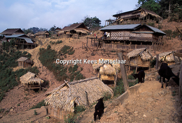 Laos, Luang Namtha Province, Ban Nammat Gao village..Traditional Akha village with goats running around...Photo by Kees Metselaar, 2003