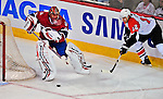 18 December 2008: Montreal Canadiens' goaltender Jaroslav Halak from the Slovak Republic, keeps the puck away from Philadelphia Flyers' left wing forward Simon Gagne in the first period at the Bell Centre in Montreal, Quebec, Canada. The Canadiens, trying to avoid a four-game slide, defeated the Flyers 5-2, thus ending Philadelphia's 5-game winning streak. ***** Editorial Sales Only ***** Mandatory Photo Credit: Ed Wolfstein Photo