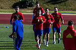 Spainsh Nacho Monreal, Thiago Alcantara, Lucas Vazquez, Alvaro Morata and Dani Carvajal during the training of the spanish national football team in the city of football of Las Rozas in Madrid, Spain. November 10, 2016. (ALTERPHOTOS/Rodrigo Jimenez)