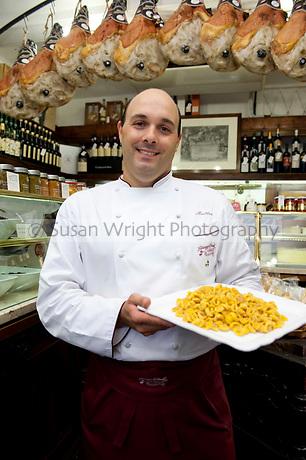Matteo Morandi in the Salumeria Giuseppe Giusti on Via Luigi Carlo Farini, Modena, Emilia Romagna, Italy